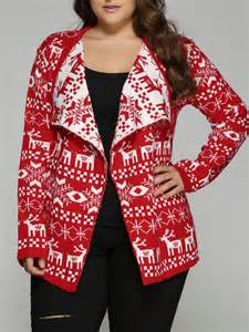 tops red christmas jacquard plus size cardigan gamiss