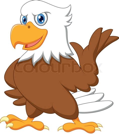 New American Home Plans by Cute Eagle Cartoon Waving Stock Vector Colourbox