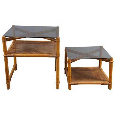 Rattan Accent Table Faux Bamboo And Rattan End Tables At 1stdibs