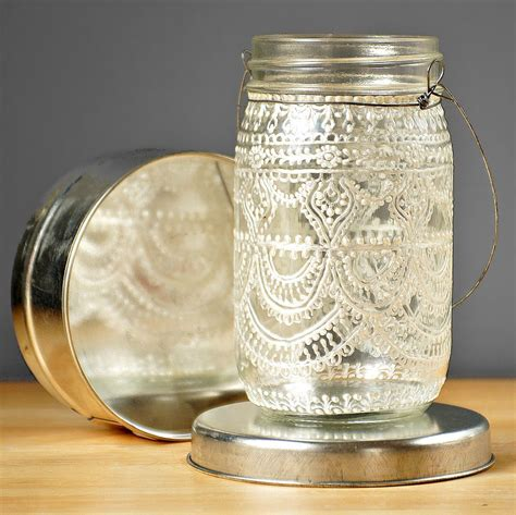 hand painted mason jar moroccan lantern vintage lace inspired