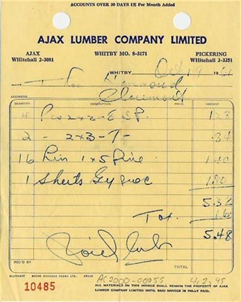 handwritten and typewritten invoices old school