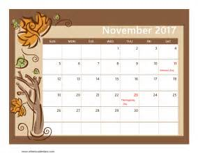 Calendars That Work November 2017 November 2017 Calendar With Holidays Weekly Calendar