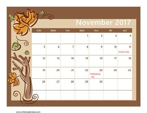 Calendar Nov 2017 2017 Calendar Printable With Holidays Calendar 2017 2018