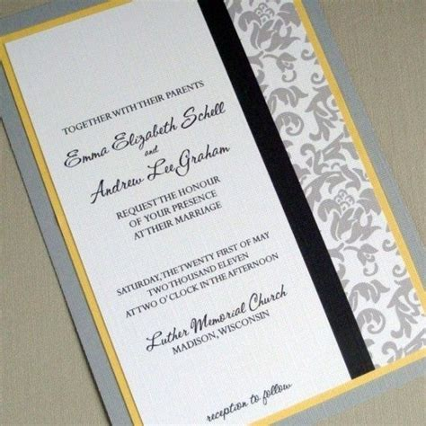 damask wedding invitation grey and yellow sle package yellow weddings the grey and damasks