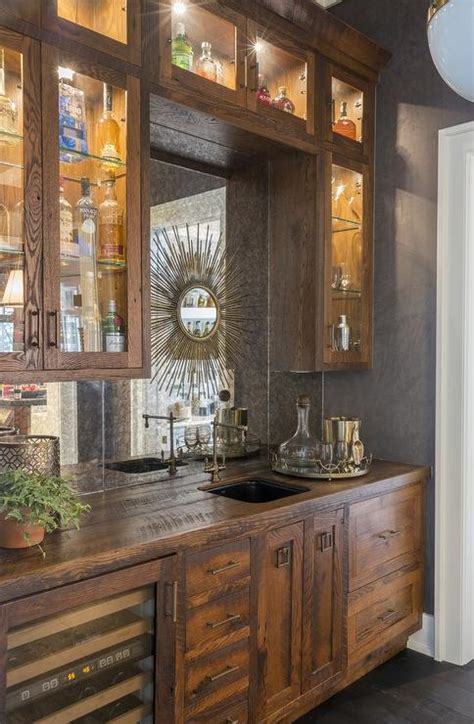Distressed Wood Bar Cabinet Rustic Bar With Mirrored Backsplash Cottage Kitchen