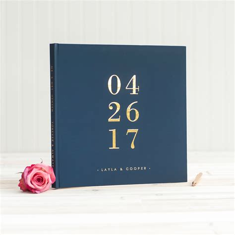 Wedding Album Cover Ideas by Navy And Gold Wedding Guest Book With Real Gold Foil Guestbook