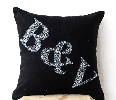 black linen monogram pillow grey sequin monogram pillow
