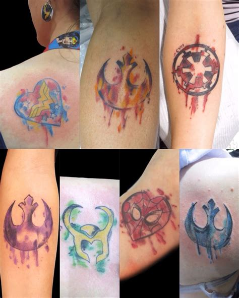 watercolor tattoos by nick starwars marvel dc