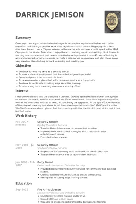 curriculum vitae format for security guard security officer resume sles visualcv resume sles
