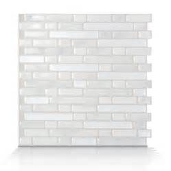 Peel And Stick Subway Tile Shop Smart Tiles White Silver Composite Vinyl Mosaic