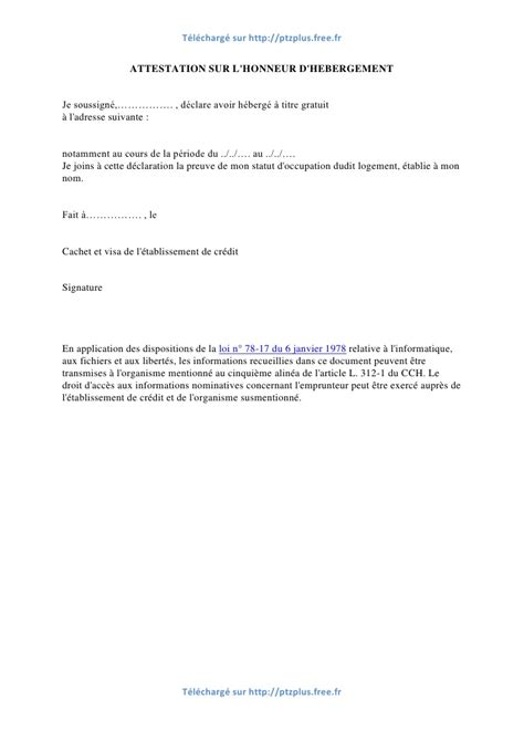 Attestation La Letter Modele Invitation Hebergement Document