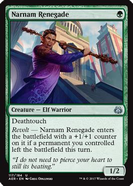 Magic The Gathering Aether Revolt Uncommon Narnam Renegade Narnam Renegade From Aether Revolt Spoiler
