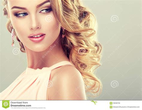 beautiful model beautiful model with elegant hairstyle stock photo