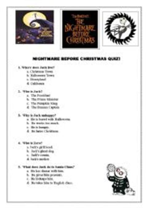 tv and film quiz easy english teaching worksheets nightmare before christmas