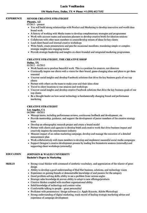 Creative Strategist Sle Resume by Creative Strategist Resume Sles Velvet