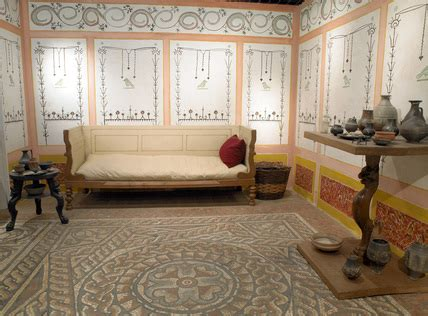 ancient living room detail of a reconstructed living room at museum of