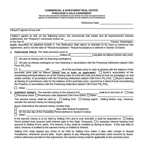 8 Real Estate Purchase Agreement Sles Templates Exles Sle Templates Real Estate Sales Contract Template