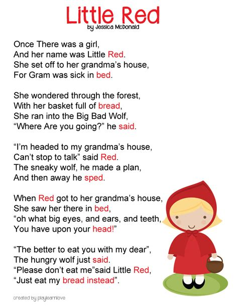 printable children s poems little red riding hood poem free printable fairy tale