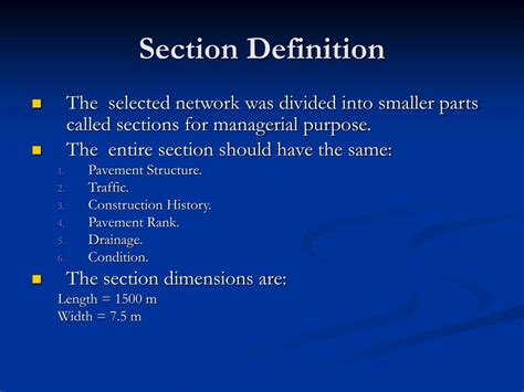 definition section ppt development of a gis network for pavement management
