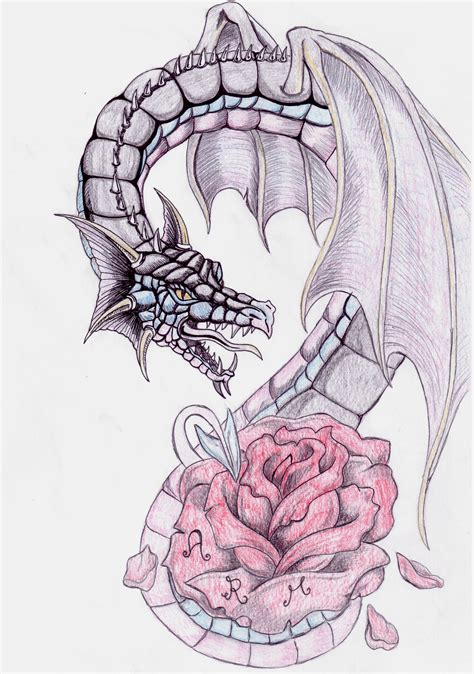 rose and dragon tattoos and by bellaswan91 on deviantart