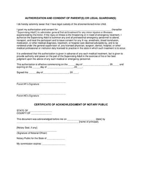 authorization letter for treatment of minor treatment consent free printable documents