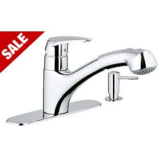 Closeout Kitchen Faucet Grohe 30127000 Starlight Chrome Closeout Pull Out Spray Kitchen Faucet With Silkmove Handle