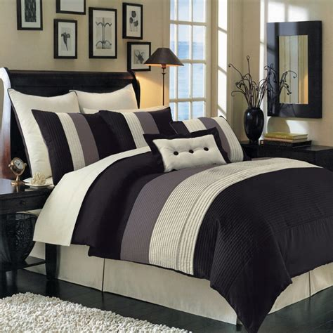 12pc black ivory grey pintuck striped comforter sheet