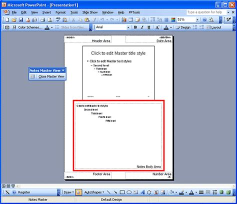 Notes Master In Powerpoint 2003 Powerpoint Tutorials Powerpoint 2003 Templates