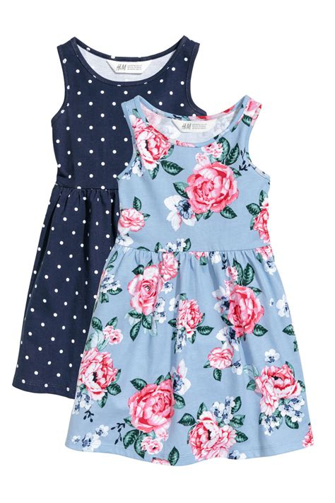Dress Kid Bungashan 3 2 pack jersey dresses blue dotted h m us