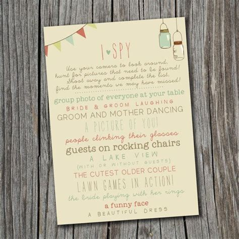 i spy wedding game printable custom diy wedding