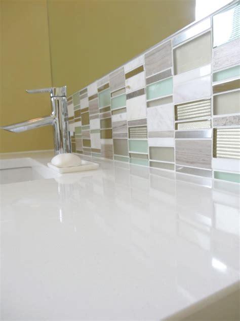 white glass tile backsplash kitchen midcentury with mid century modern vanity bathroom midcentury with cambria