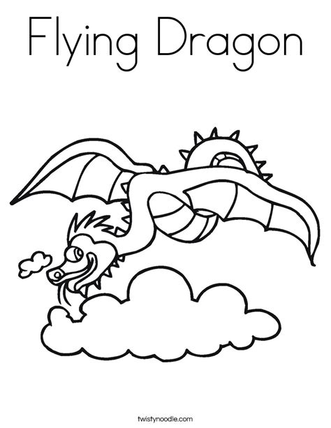flying dragon coloring page twisty noodle