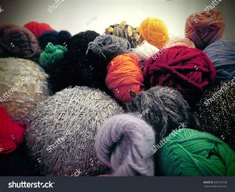 multi colored yarn knitting multicolored yarn stock photo 585216730