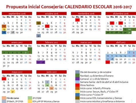 feccoocyl calendario escolar 2016 17 provisional