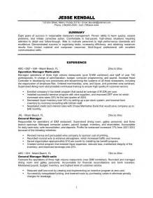 Resume Exles For Restaurant by Restaurant Duties For Resume Operation Manager Experience Restaurant General Multi Unit Manager