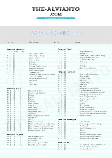 Riairiany Daftar Belanja Persiapan berbelanja kebutuhan bayi fifi alvianto