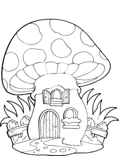 Mushroom House Coloring Pages | mushroom house colouring pages www imgkid com the