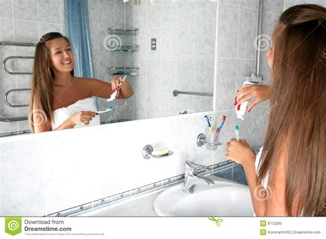 in the girls bathroom girl in bathroom royalty free stock photo image 8772295