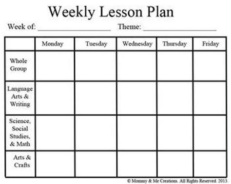 Georgia Pre K Lesson Plan Template Free Weekly Lesson Plan
