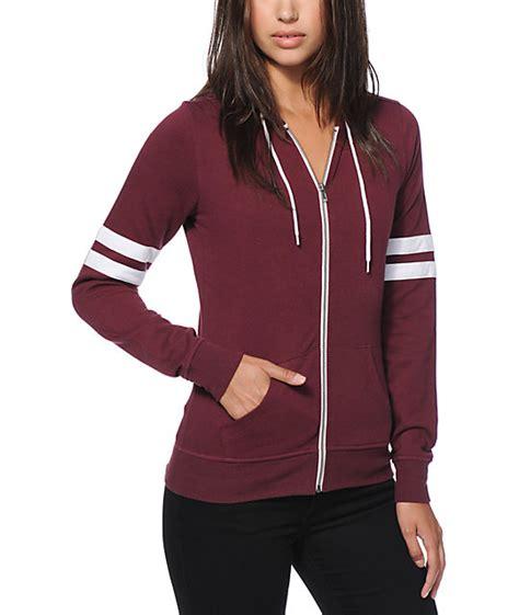 Hq 13774 Stripe Hoody Dress Maroon Hoodie Zip Up Fashion Ql
