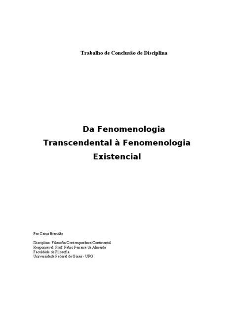 Husserl e Heidegger - Da Fenomenologia Transcendental à