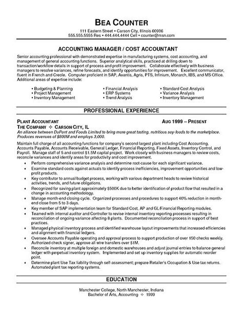 accounting resume exles cost accountant resume exle