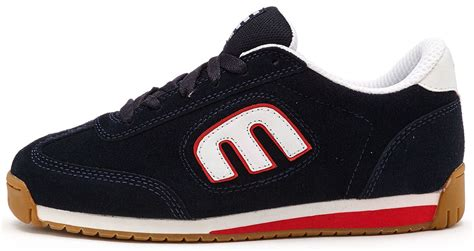 navy blue and white ls etnies lo cut ii ls trainers in navy blue red white