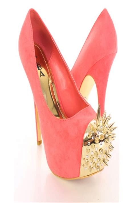coral gold faux suede spike studded rhinestone decor