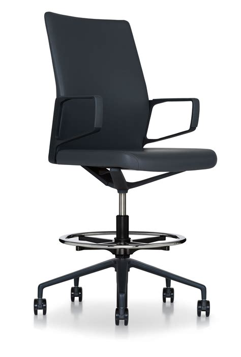 Leather Drafting Chair by Black Slender Executive Conference Drafting Chair