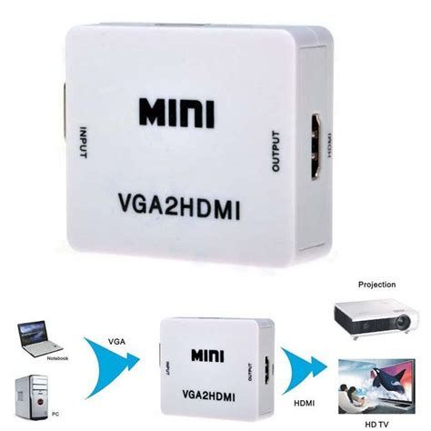 New Hd 1080p Hdmi To Vga And Audio Adapter For new mini hd 1080p audio vga to hdmi hd hdtv converter box adapter with hdmi cable for
