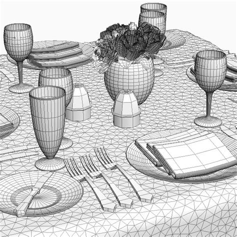 dining table place settings dining table place settings 3d model cgstudio