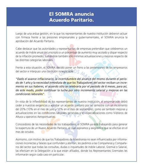 sueldo del personal de maestranza anuncio del nuevo acuerdo paritario