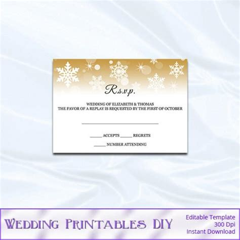 rsvp template diy gold snowflake wedding enclosure card