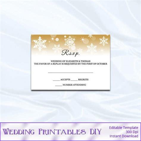 card insert templates wedding rsvp template diy gold snowflake wedding enclosure card